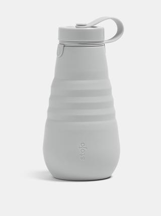 Šedá cestovná skladacia fľaša Stojo 592 ml