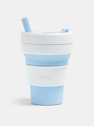 Bielo-modrý cestovný skladací hrnček so slamkou Stojo Biggie 470 ml