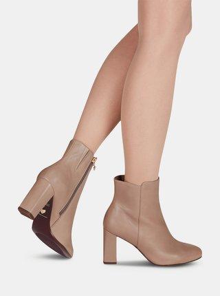 Béžové kožené kotníkové boty Tamaris