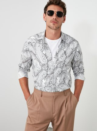 Šedá pánska vzorovaná košeľa Trendyol