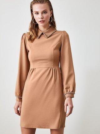 Hnedé šaty s límcom Trendyol