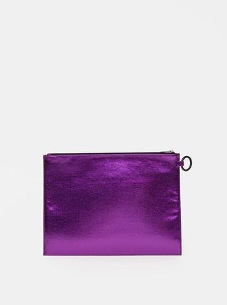 Fialová lesklá listová kabelka s nápisom Diesel