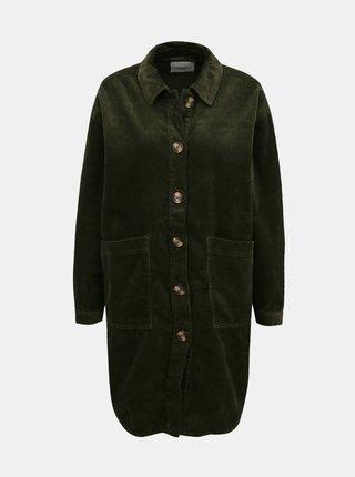 Khaki dlouhá manšestrová košile Jacqueline de Yong Tory