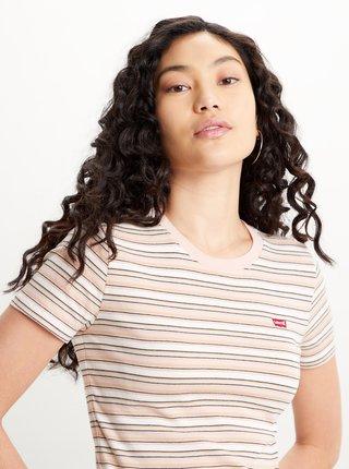 Krémovo-růžové dámské pruhované tričko Levi's® Ribbed Baby Tee