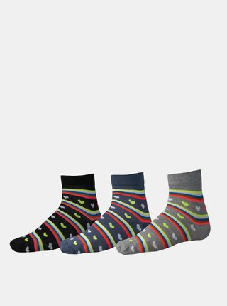 Sada troch párov dámskych vzorovaných ponožiek v čiernej a šedej farbe SAM 73