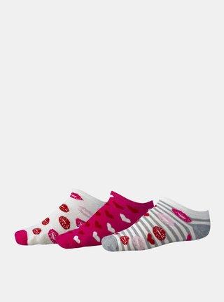 Sada tří párů růžových holčičích vzorovaných nízkých ponožek SAM 73