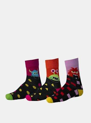Sada troch párov vzorovaných ponožiek v ružovej a čiernej farbe SAM 73