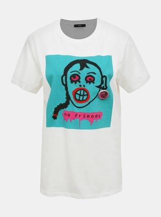 Biele dámske tričko s potlačou Diesel