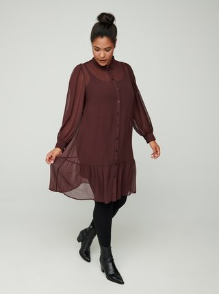 Hnědé košilové šaty Zizzi