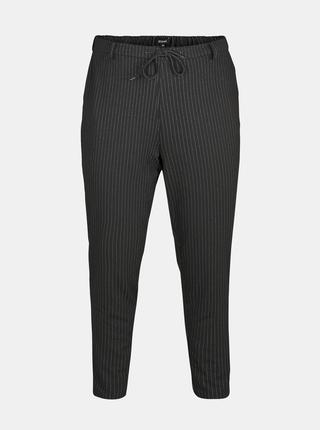 Čierne pruhované nohavice Zizzi