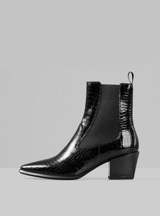 Černé dámské kožené chelsea boty s krokodýlím vzorem Vagabond