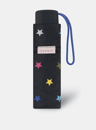 Černý dámský vzorovaný skládací deštník Esprit