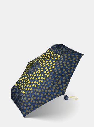 Žlto-modrý dámsky bodkovaný skladací dáždnik Esprit