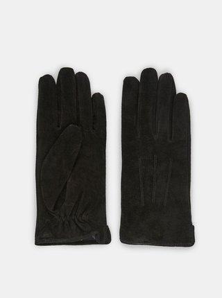 Čierne semišové rukavice Pieces Nellie