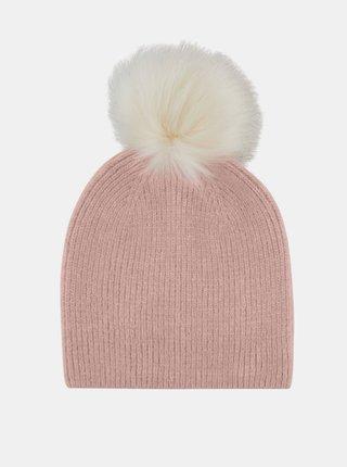Ružová čiapka s prímesou vlny Pieces Bina