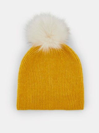Žltá čiapka s prímesou vlny Pieces Bina
