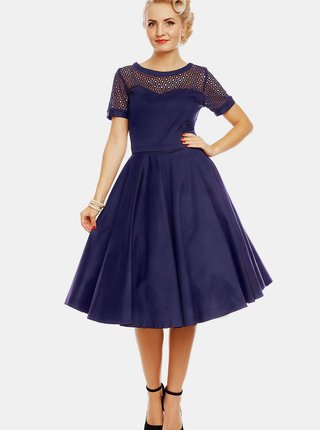 Tmavě modré šaty s ozdobným sedlem Dolly & Dotty