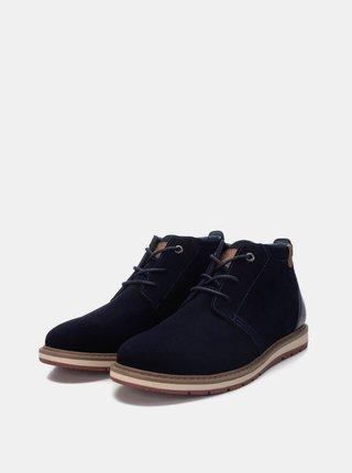 Tmavomodré pánske semišové členkové topánky Xti
