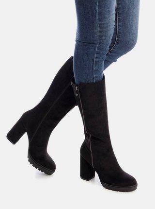 Čierne dámske čižmy v semišovej úprave Xti