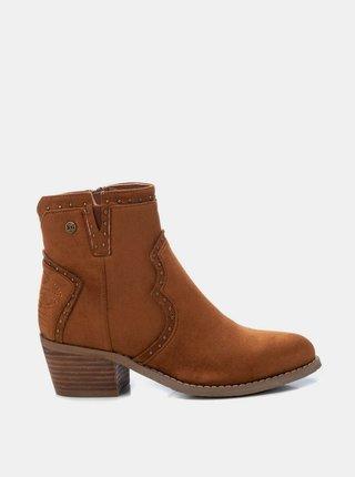 Hnedé dámske členkové topánky v semišovej úprave Xti