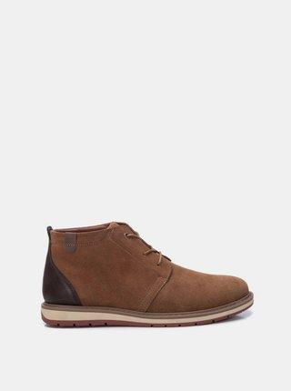 Hnědé pánské semišové kotníkové boty Xti