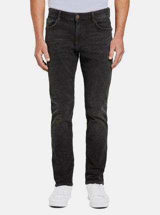 Tmavě šedé pánské slim fit džíny Tom Tailor