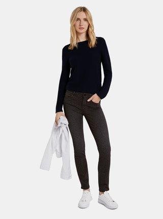 Hnědé dámské kalhoty s leopardím vzorem Tom Tailor