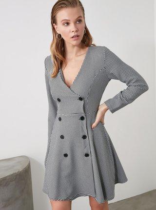 Šedé vzorované šaty Trendyol
