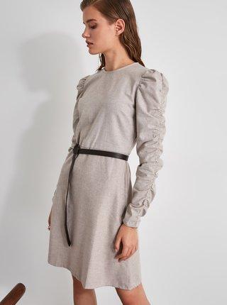 Svetlošedé šaty s nariasenými rukávmi Trendyol