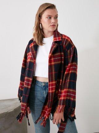 Červeno-modrý kostkovaný lehký kabát Trendyol