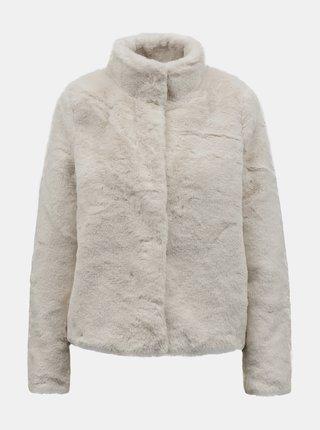 Krémový krátký kabát s umělým kožíškem VERO MODA Thea
