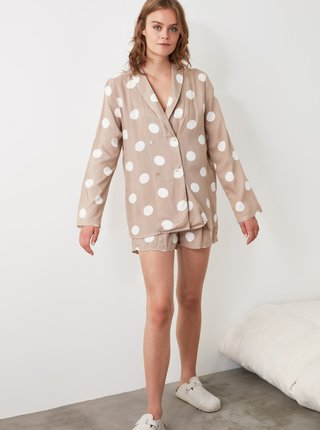 Béžové dámske bodkované pyžamo Trendyol