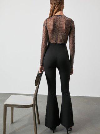 Černé dámské bootcut kalhoty Trendyol