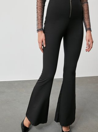 Čierne dámske bootcut nohavice Trendyol