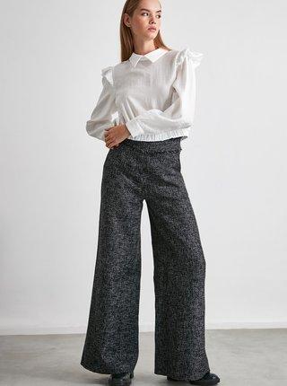 Šedé dámské široké kalhoty Trendyol