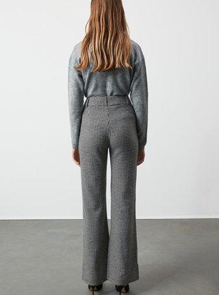 Šedé dámske kockované bootcut nohavice Trendyol