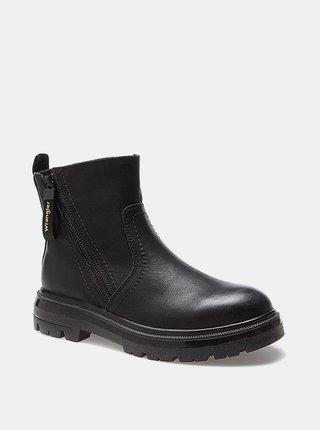 Černé dámské kožené kotníkové boty Wrangler Clash