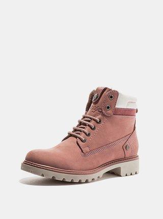 Ružové dámske kožené zimné topánky Wrangler