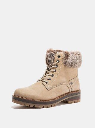 Krémové dámske kožené zimné topánky Wrangler