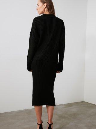 Černý dámský komplet kardiganu a pouzdrové sukně Trendyol