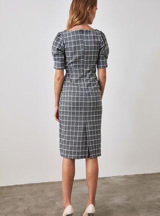 Šedé kostkované pouzdrové šaty Trendyol