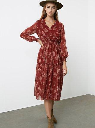 Hnědé vzorované šaty Trendyol