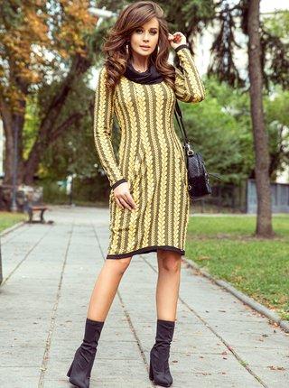 Čierno-žlté vzorované šaty numoco
