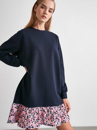 Tmavě modré volné šaty Trendyol