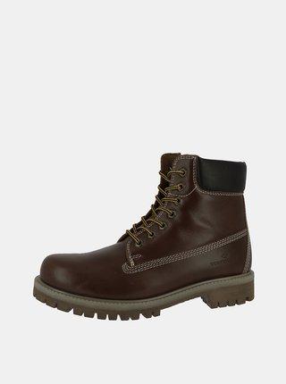 Tmavohnedé pánske kožené členkové topánky Tom Tailor