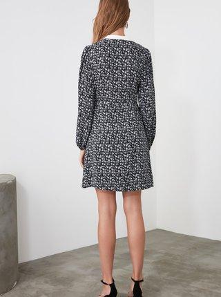 Šedé vzorované šaty s límečkem Trendyol