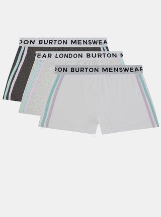 Sada troch boxeriek v šedej a krémovej farbe Burton Menswear London