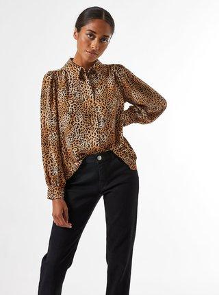 Hnědá halenka s leopardím vzorem Dorothy Perkins Petite