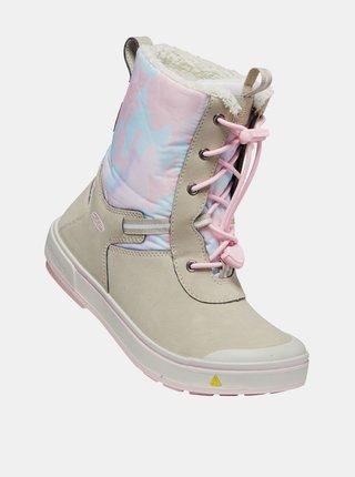 Ružovo-béžové dievčenské kožené zimné topánky s umelým kožúškom Keen