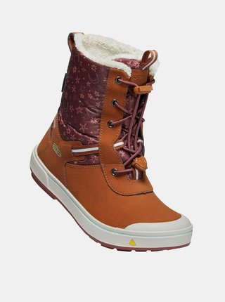 Hnedé dievčenské kožené zimné topánky s umelým kožúškom Keen